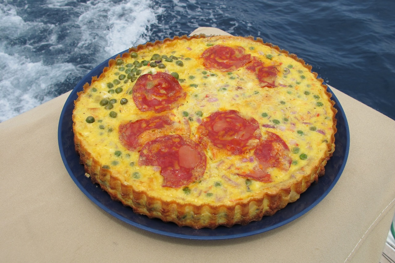 Green Peas Tart with Feta and Chorizo