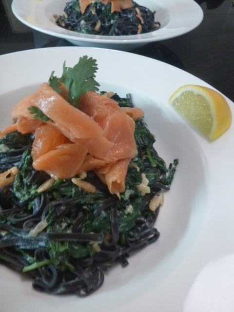 Pasta nero with spinach cream & smoked salmon
