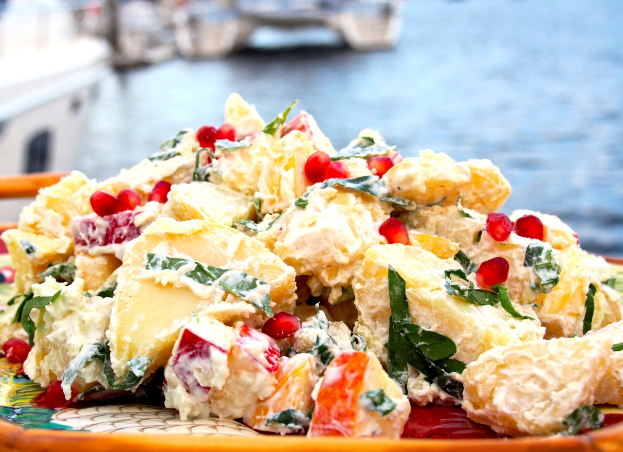 Potato salad with Blue Cheese, Pomegranate and Yogurt dressing