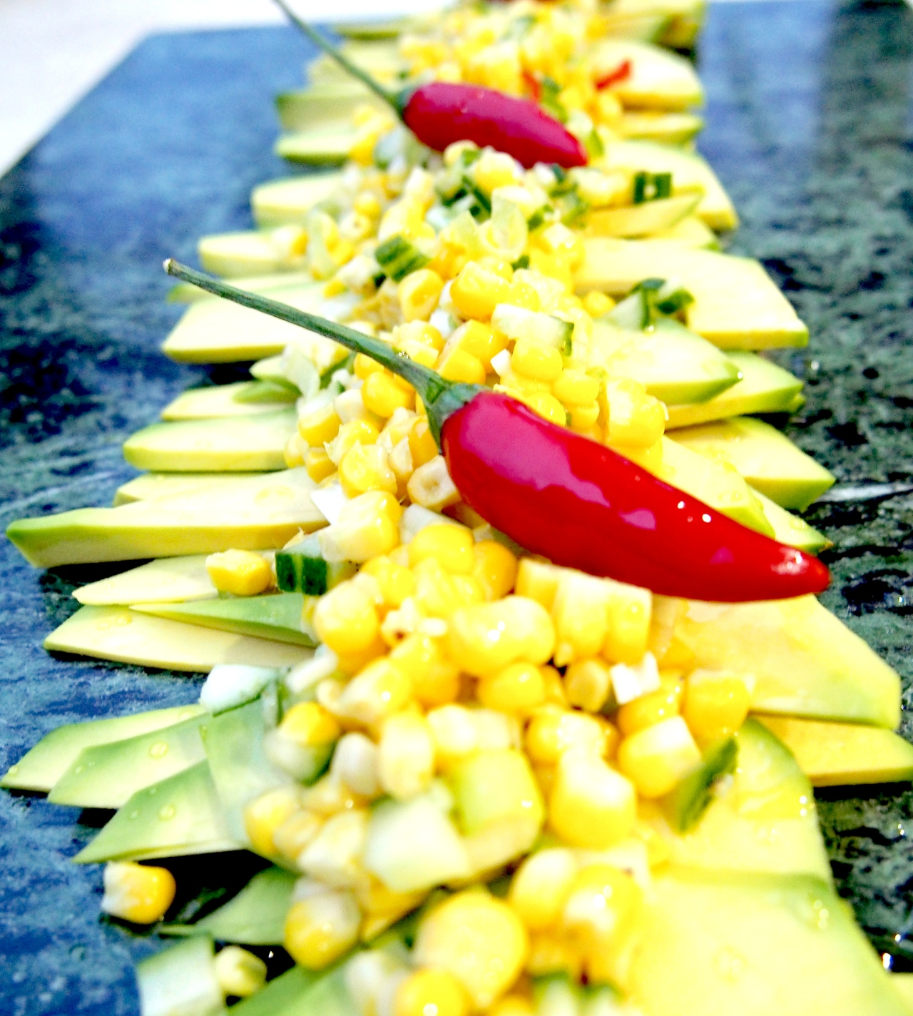 Carpaccio of Avocado with Sweet Corn salsa