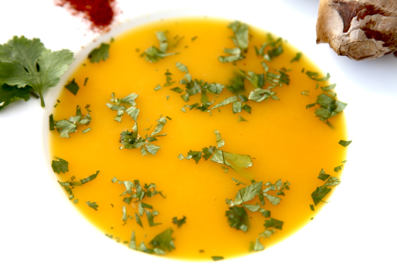 Yellow capsicum soup with ginger fromFiji