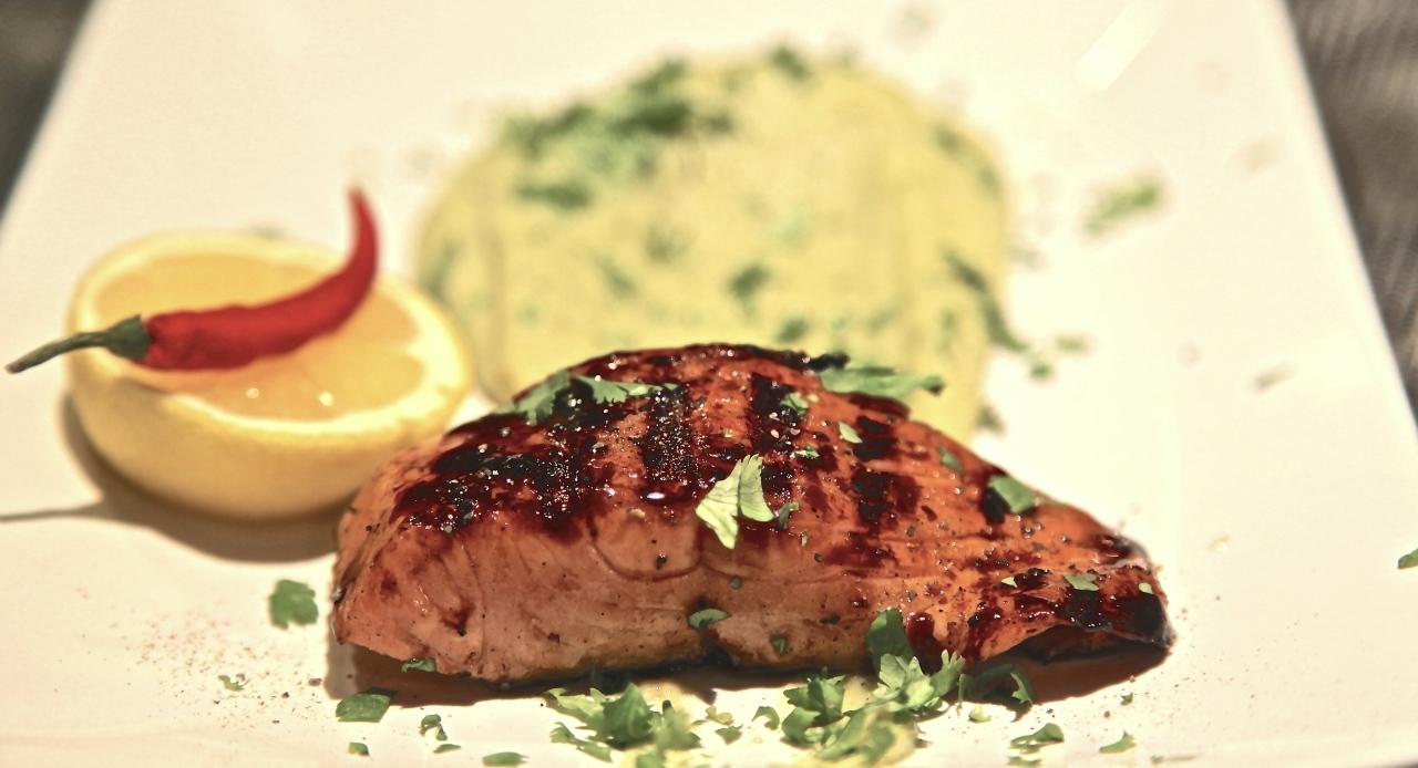 Salmon with Balsamic Caramel Crust and BelgianSTOEMP