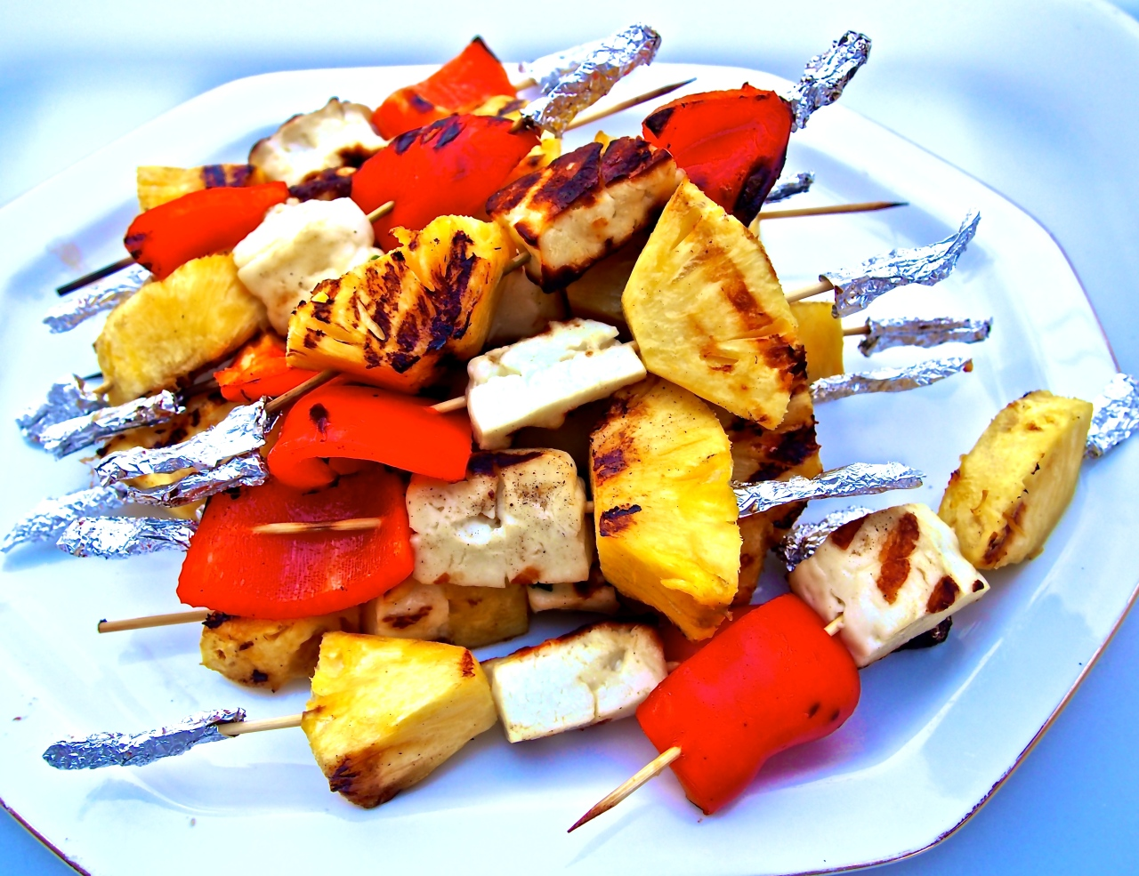 BBQ time! Skewers of Haloumi, fresh Pineapple and Red Capsicum