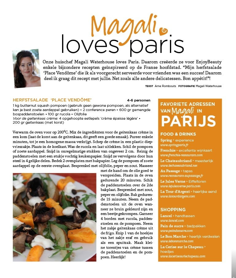 Here it is! The Autumn Article in the Belgian 'Enjoy Beauty'Magazine